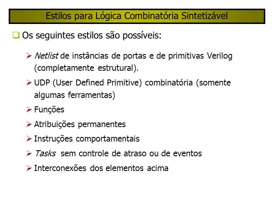 Estilos para Lógica Combinatória Sintetizável Os seguintes estilos são possíveis: Netlist de instâncias de portas e de primitivas Verilog (completamente estrutural).