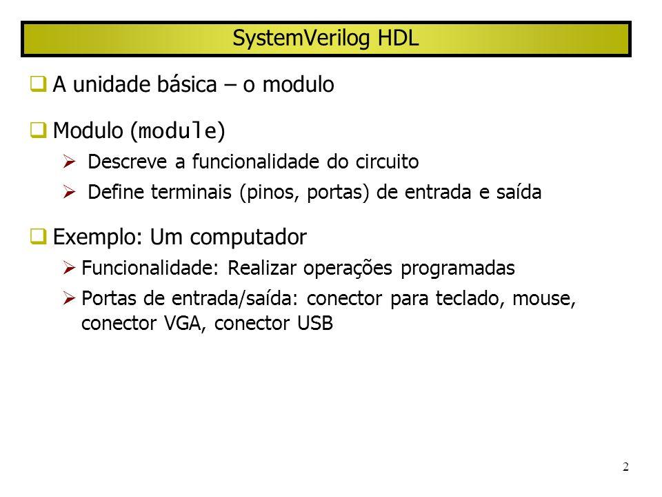 3 Module Definição geral module module_name ( port_list ); … variable declaration; … description of behavior endmodule Exemplo module HalfAdder ( input A, B, output logic Sum, Carry); always_comb Sum <= A ^ B; //^ denotes XOR always_comb Carry <= A & B; // & denotes AND endmodule