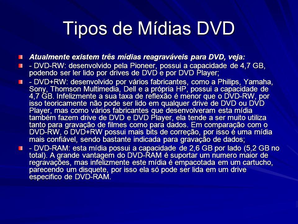 Tipos de Mídias DVD Atualmente existem três mídias reagraváveis para DVD, veja: - DVD-RW: desenvolvido pela Pioneer, possui a capacidade de 4,7 GB, po