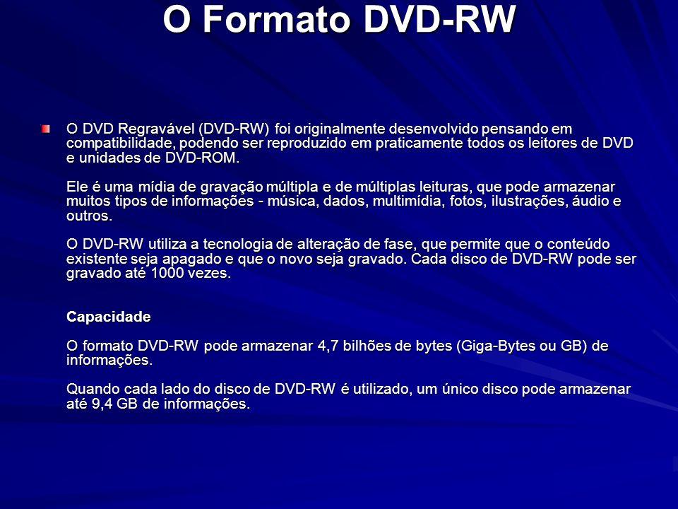 O Formato DVD-RW O DVD Regravável (DVD-RW) foi originalmente desenvolvido pensando em compatibilidade, podendo ser reproduzido em praticamente todos o