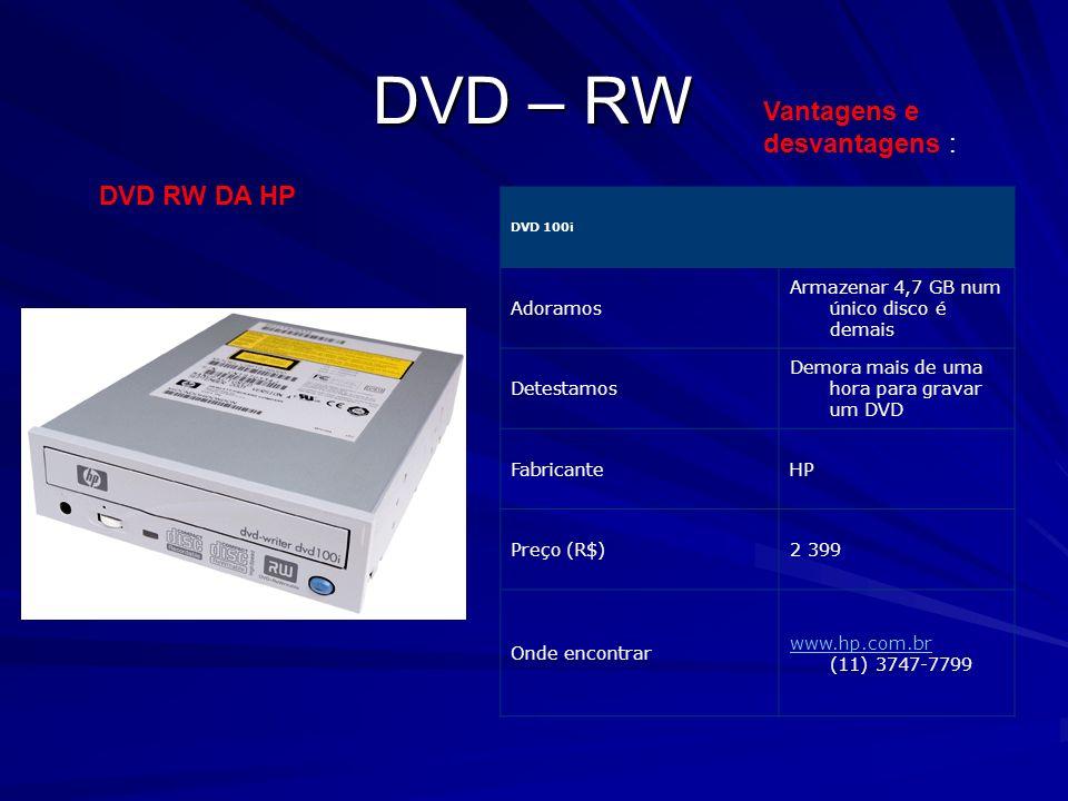 DVD – RW DVD RW DA HP DVD 100i Adoramos Armazenar 4,7 GB num único disco é demais Detestamos Demora mais de uma hora para gravar um DVD FabricanteHP P