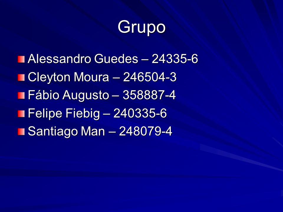 Grupo Alessandro Guedes – 24335-6 Cleyton Moura – 246504-3 Fábio Augusto – 358887-4 Felipe Fiebig – 240335-6 Santiago Man – 248079-4