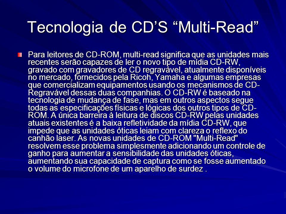 Tecnologia de CDS Multi-Read Para leitores de CD-ROM, multi-read significa que as unidades mais recentes serão capazes de ler o novo tipo de mídia CD-