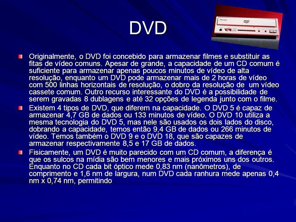 Diferença entre CD e DVD Atualmente estamos vendo a popularização de um novo formato de compactação de vídeo, que atinge níveis de compactação bem superiores ao do MPEG2 usado no DVD, o Divx;-) (com o sorrisinho no final), que permite gravar duas horas de filme, com uma qualidade próxima à do DVD num CD-ROM comum.