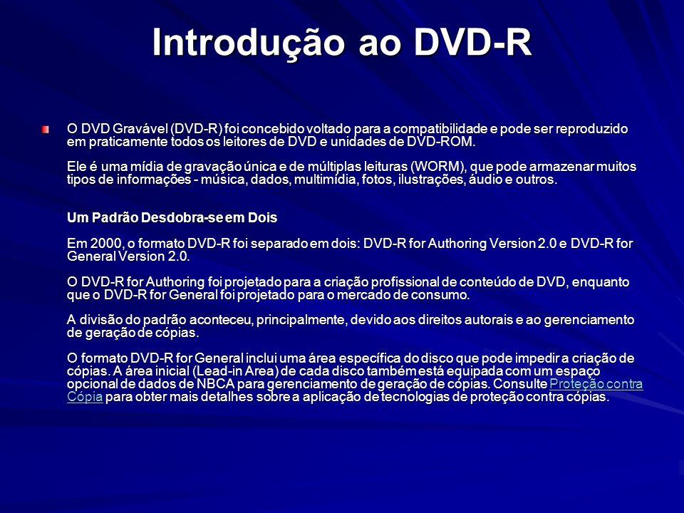 Introdução ao DVD-R O DVD Gravável (DVD-R) foi concebido voltado para a compatibilidade e pode ser reproduzido em praticamente todos os leitores de DV