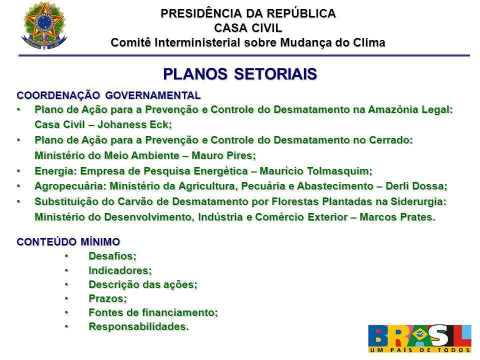 PLANOS SETORIAIS COORDENAÇÃO GOVERNAMENTAL Plano de Ação para a Prevenção e Controle do Desmatamento na Amazônia Legal: Casa Civil – Johaness Eck;Plan