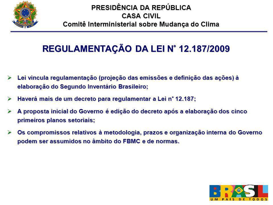 REGULAMENTAÇÃO DA LEI N° 12.187/2009 Lei vincula regulamentação (projeção das emissões e definição das ações) à elaboração do Segundo Inventário Brasi