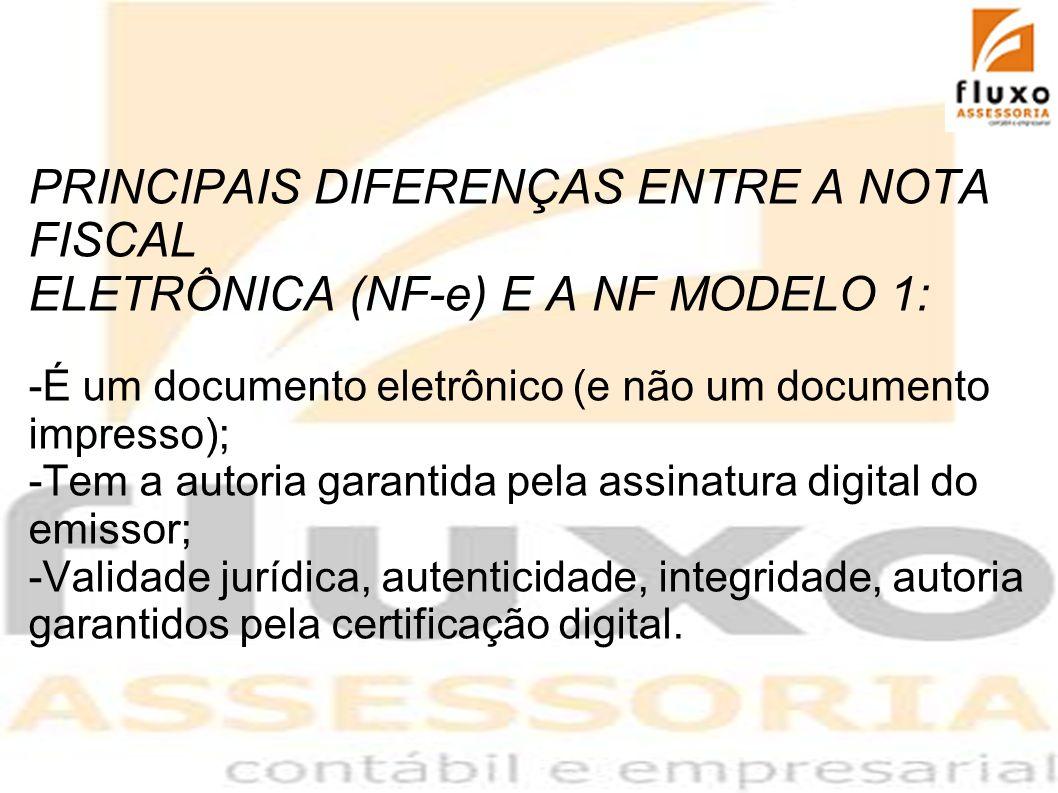 PRINCIPAIS DIFERENÇAS ENTRE A NOTA FISCAL ELETRÔNICA (NF-e) E A NF MODELO 1: -É um documento eletrônico (e não um documento impresso); -Tem a autoria