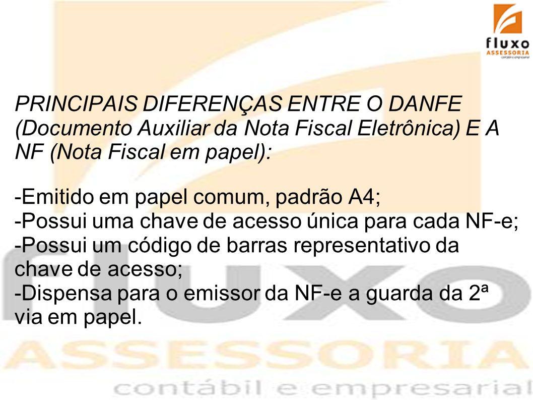 PRINCIPAIS DIFERENÇAS ENTRE O DANFE (Documento Auxiliar da Nota Fiscal Eletrônica) E A NF (Nota Fiscal em papel): -Emitido em papel comum, padrão A4;