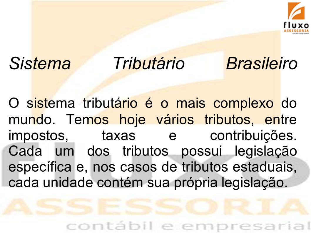 Sistema Tributário Brasileiro O sistema tributário é o mais complexo do mundo. Temos hoje vários tributos, entre impostos, taxas e contribuições. Cada
