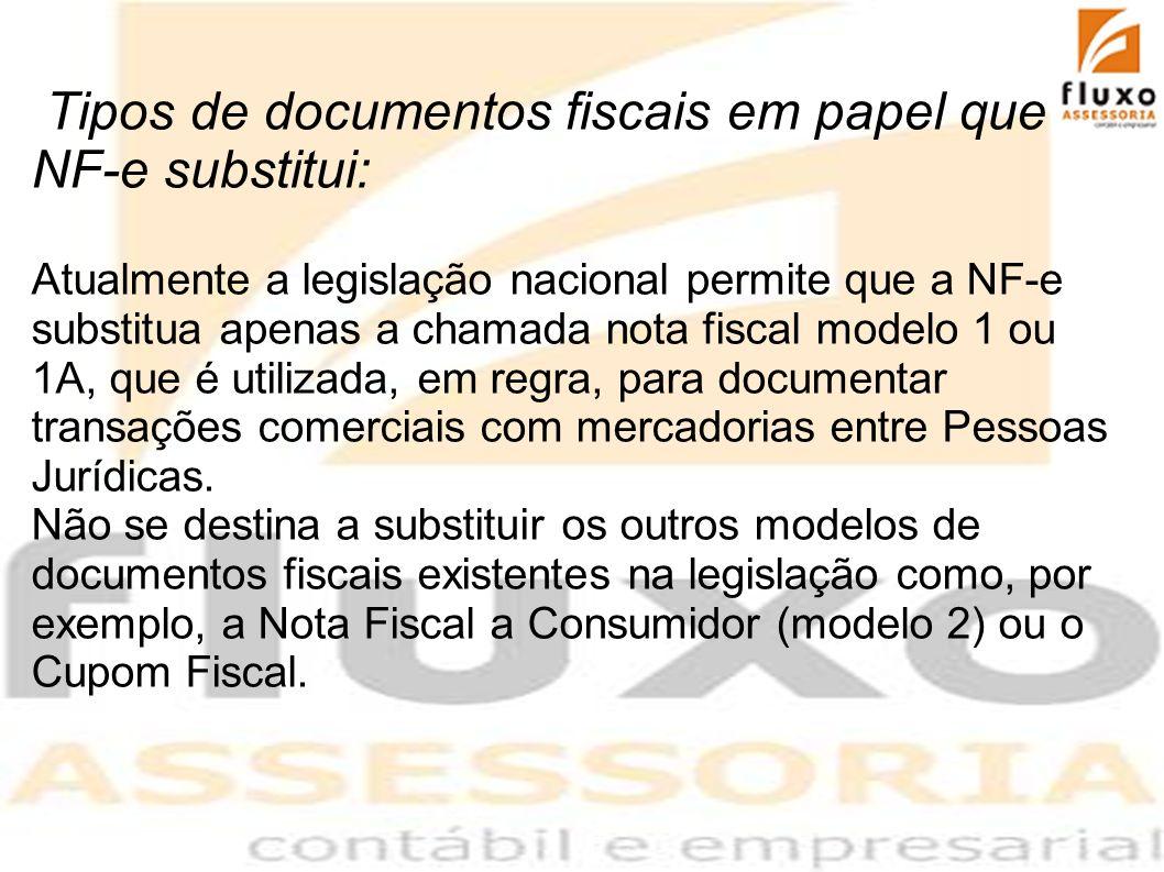 Tipos de documentos fiscais em papel que a NF-e substitui: Atualmente a legislação nacional permite que a NF-e substitua apenas a chamada nota fiscal
