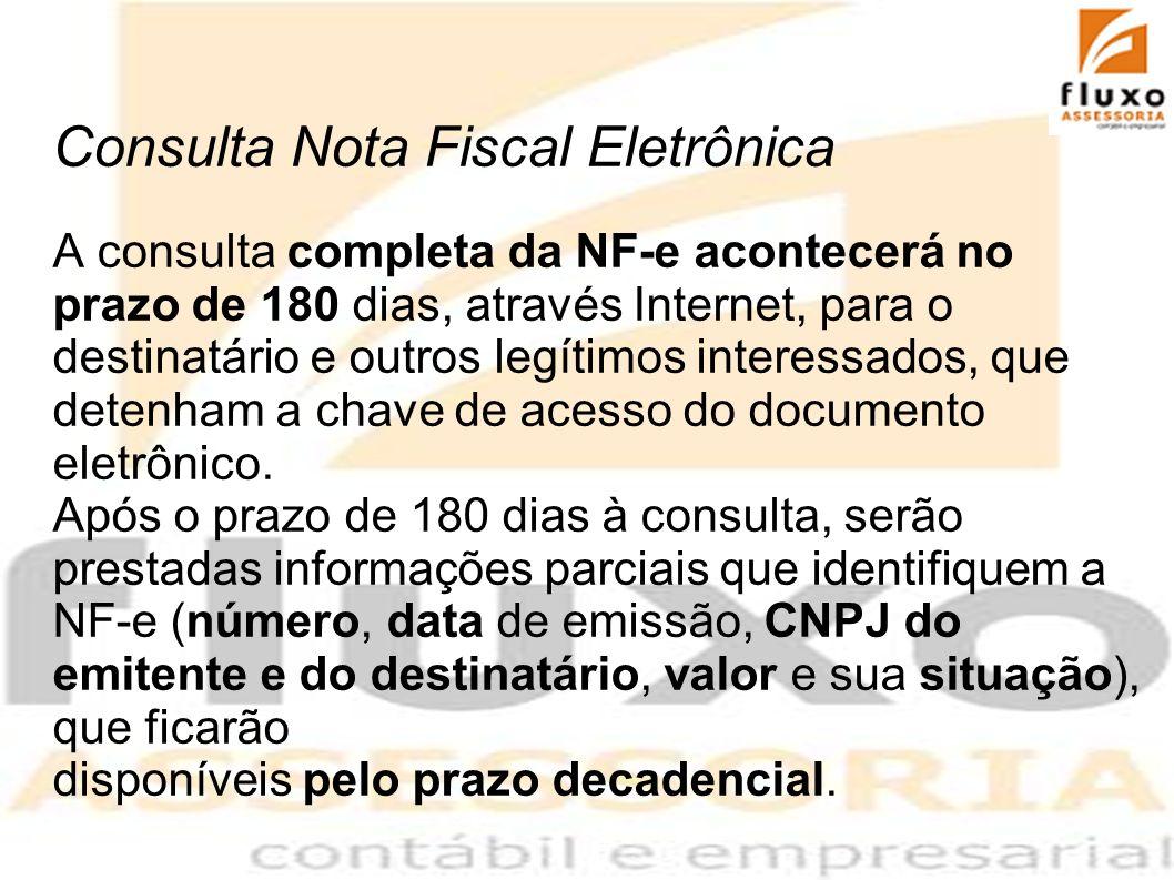 Consulta Nota Fiscal Eletrônica A consulta completa da NF-e acontecerá no prazo de 180 dias, através Internet, para o destinatário e outros legítimos