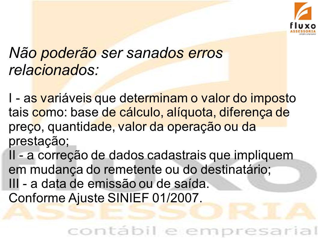 Não poderão ser sanados erros relacionados: I - as variáveis que determinam o valor do imposto tais como: base de cálculo, alíquota, diferença de preç