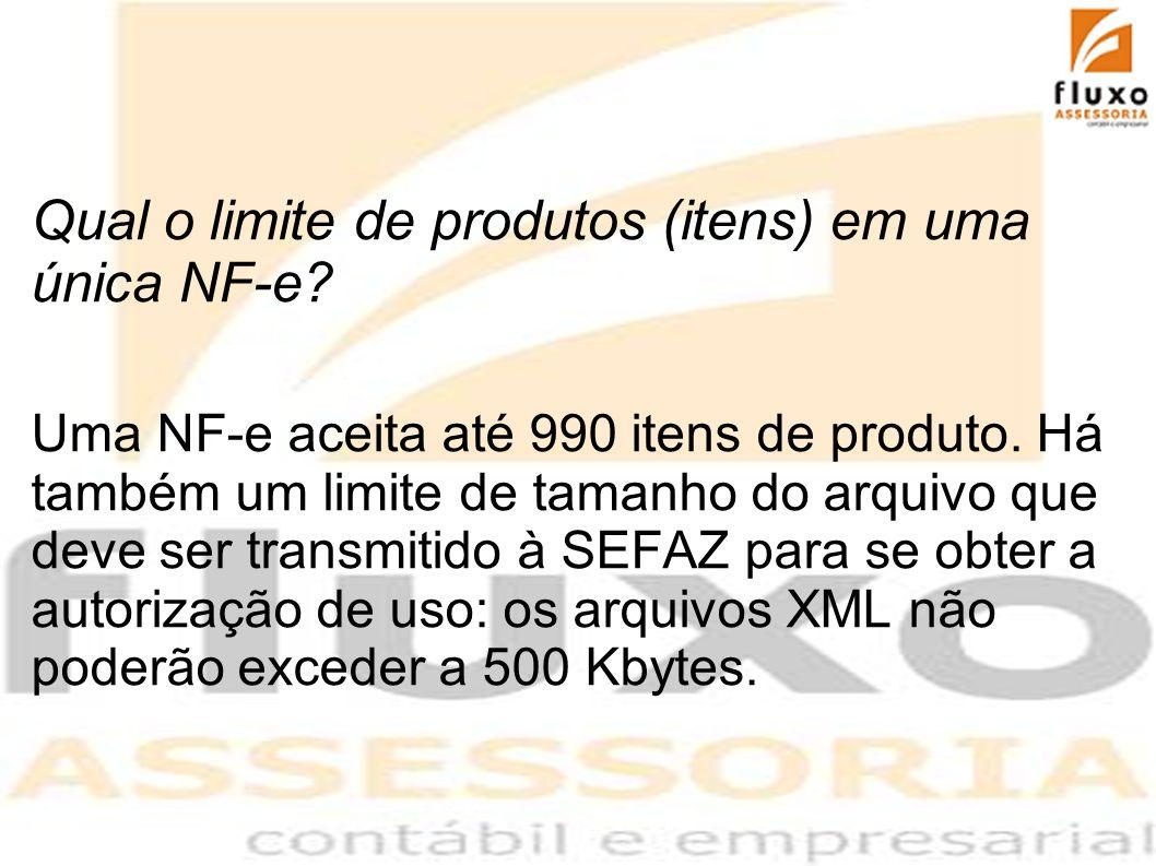 Qual o limite de produtos (itens) em uma única NF-e? Uma NF-e aceita até 990 itens de produto. Há também um limite de tamanho do arquivo que deve ser