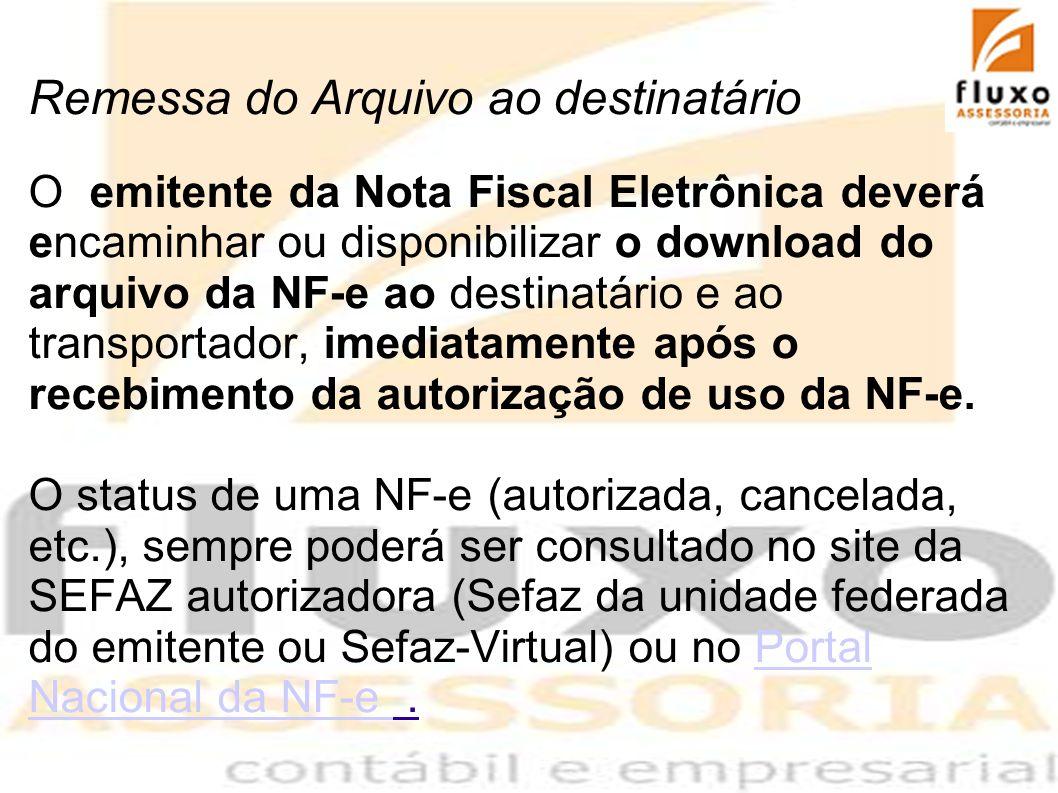 Remessa do Arquivo ao destinatário O emitente da Nota Fiscal Eletrônica deverá encaminhar ou disponibilizar o download do arquivo da NF-e ao destinatá