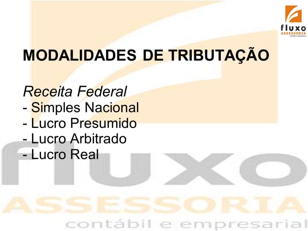 MODALIDADES DE TRIBUTAÇÃO Receita Federal - Simples Nacional - Lucro Presumido - Lucro Arbitrado - Lucro Real