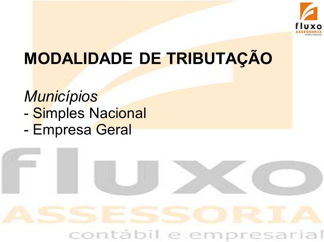 MODALIDADE DE TRIBUTAÇÃO Municípios - Simples Nacional - Empresa Geral