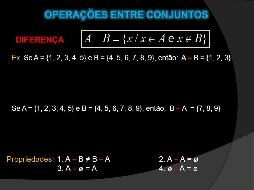 DIFERENÇA Ex. Se A = {1, 2, 3, 4, 5} e B = {4, 5, 6, 7, 8, 9}, então: A – B = {1, 2, 3} Se A = {1, 2, 3, 4, 5} e B = {4, 5, 6, 7, 8, 9}, então: B – A
