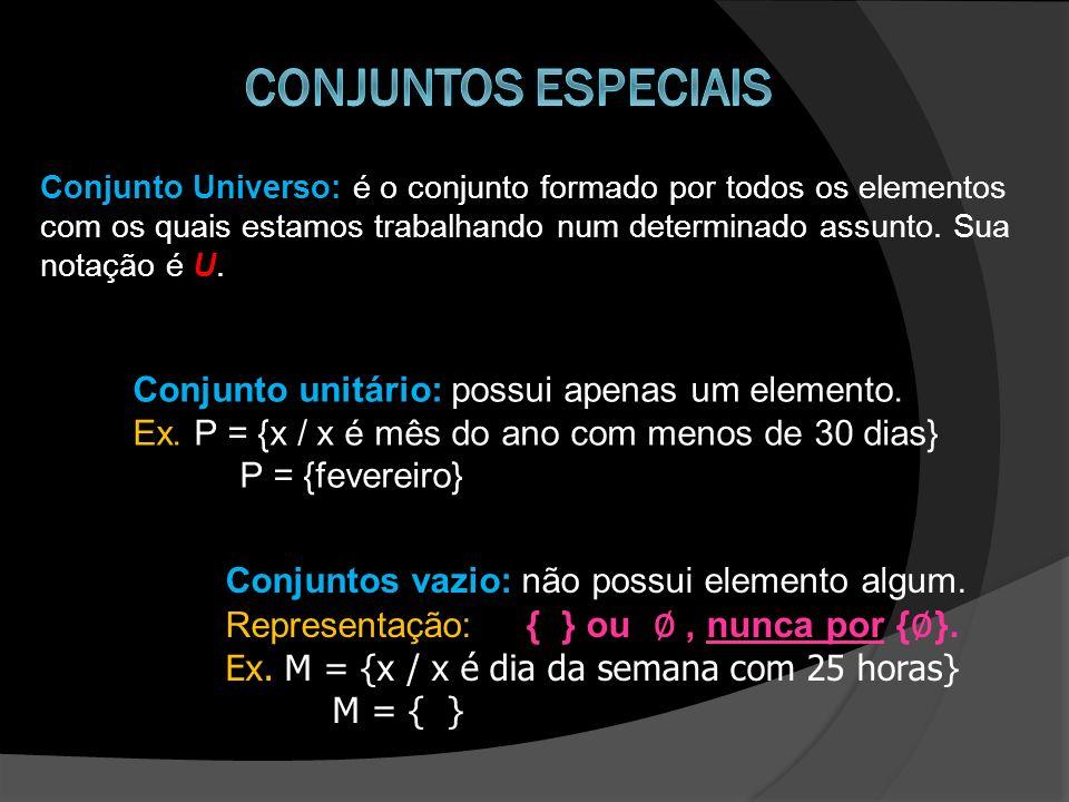 Conjunto Universo: é o conjunto formado por todos os elementos com os quais estamos trabalhando num determinado assunto. Sua notação é U. Conjunto uni