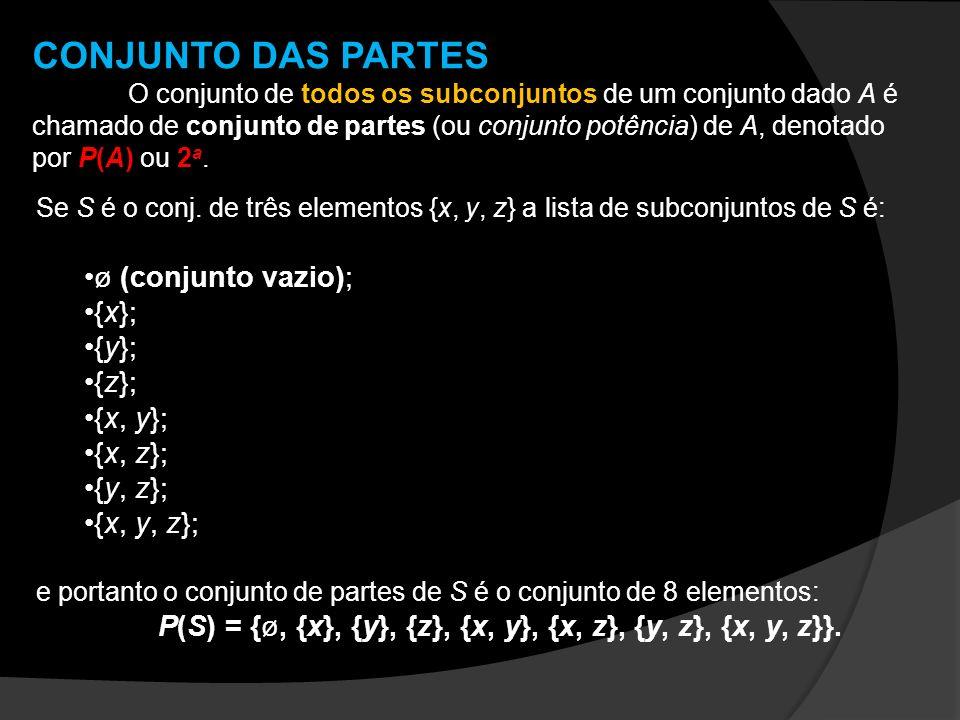 CONJUNTO DAS PARTES O conjunto de todos os subconjuntos de um conjunto dado A é chamado de conjunto de partes (ou conjunto potência) de A, denotado po