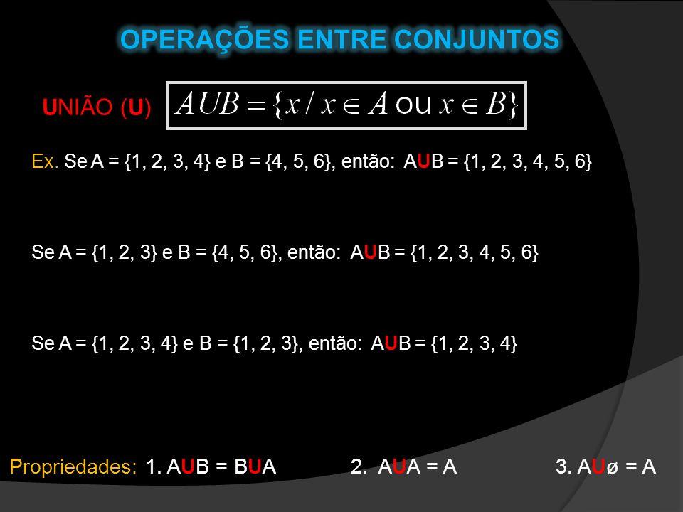 UNIÃO (U) Ex. Se A = {1, 2, 3, 4} e B = {4, 5, 6}, então: AUB = {1, 2, 3, 4, 5, 6} Se A = {1, 2, 3} e B = {4, 5, 6}, então: AUB = {1, 2, 3, 4, 5, 6} S