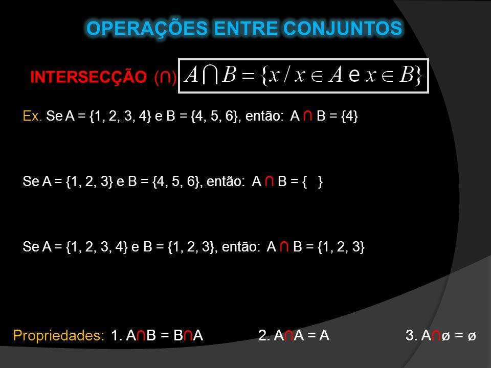 INTERSECÇÃO () Ex. Se A = {1, 2, 3, 4} e B = {4, 5, 6}, então: A B = {4} Se A = {1, 2, 3} e B = {4, 5, 6}, então: A B = { } Se A = {1, 2, 3, 4} e B =