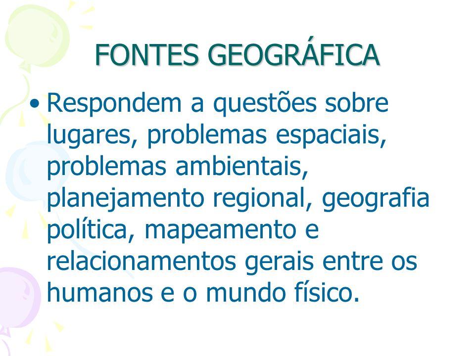 FONTES GEOGRÁFICA Respondem a questões sobre lugares, problemas espaciais, problemas ambientais, planejamento regional, geografia política, mapeamento