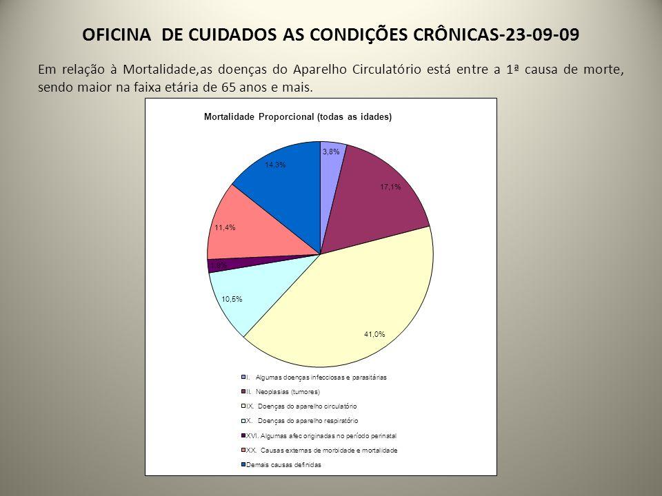 OFICINA DE CUIDADOS AS CONDIÇÕES CRÔNICAS-23-09-09 Em relação à Mortalidade,as doenças do Aparelho Circulatório está entre a 1ª causa de morte, sendo maior na faixa etária de 65 anos e mais.