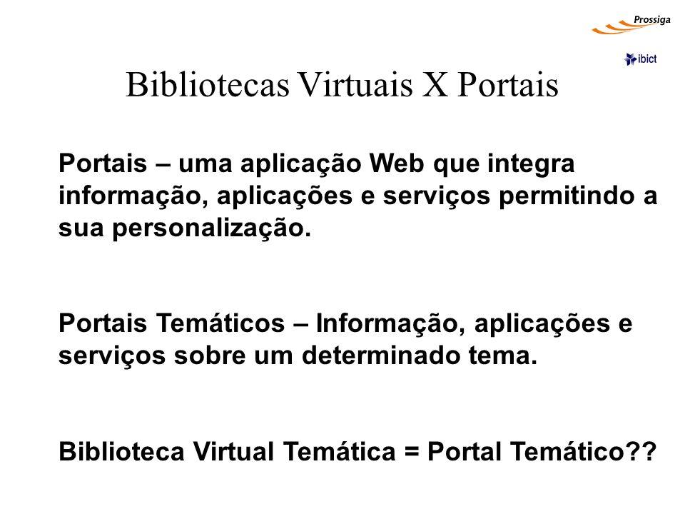 Bibliotecas Virtuais X Portais Portais – uma aplicação Web que integra informação, aplicações e serviços permitindo a sua personalização. Portais Temá