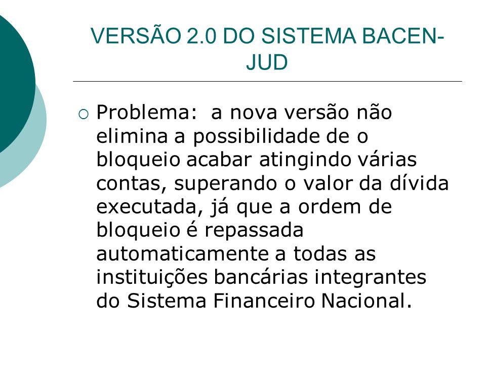 VERSÃO 2.0 DO SISTEMA BACEN- JUD Ordem de desbloqueio – em média, no máximo 48 horas.
