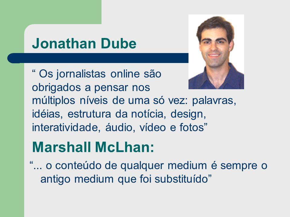 Marshall McLhan:... o conteúdo de qualquer medium é sempre o antigo medium que foi substituído Jonathan Dube Os jornalistas online são obrigados a pen