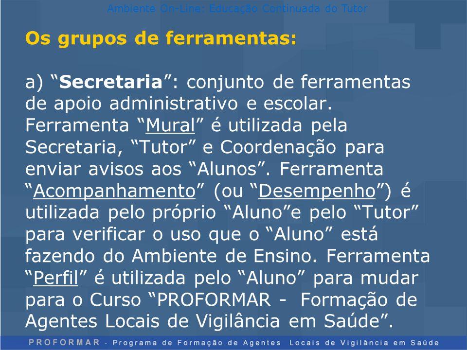 Os grupos de ferramentas: a) Secretaria: conjunto de ferramentas de apoio administrativo e escolar. Ferramenta Mural é utilizada pela Secretaria, Tuto