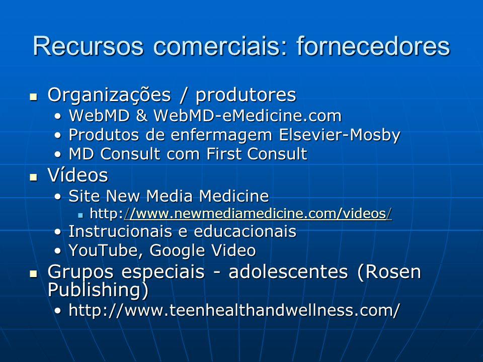 Recursos comerciais: fornecedores Organizações / produtores Organizações / produtores WebMD & WebMD-eMedicine.comWebMD & WebMD-eMedicine.com Produtos