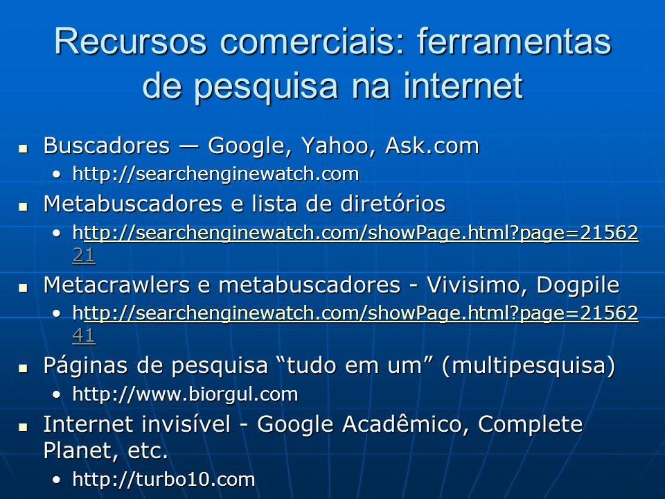 Recursos comerciais: ferramentas de pesquisa na internet Buscadores Google, Yahoo, Ask.com Buscadores Google, Yahoo, Ask.com http://searchenginewatch.