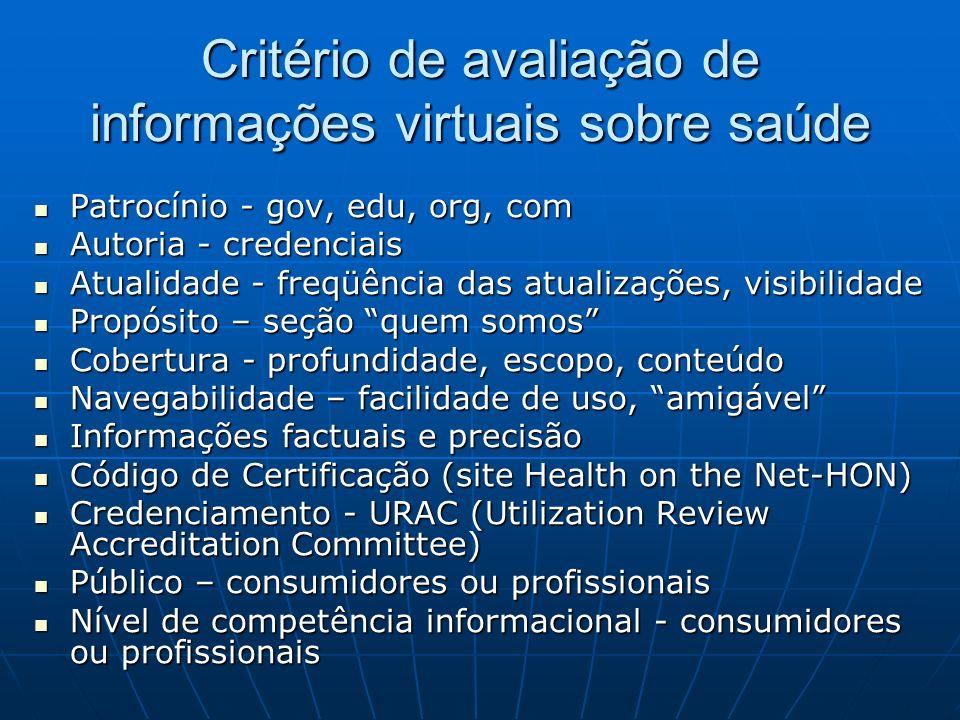 Critério de avaliação de informações virtuais sobre saúde Patrocínio - gov, edu, org, com Patrocínio - gov, edu, org, com Autoria - credenciais Autori