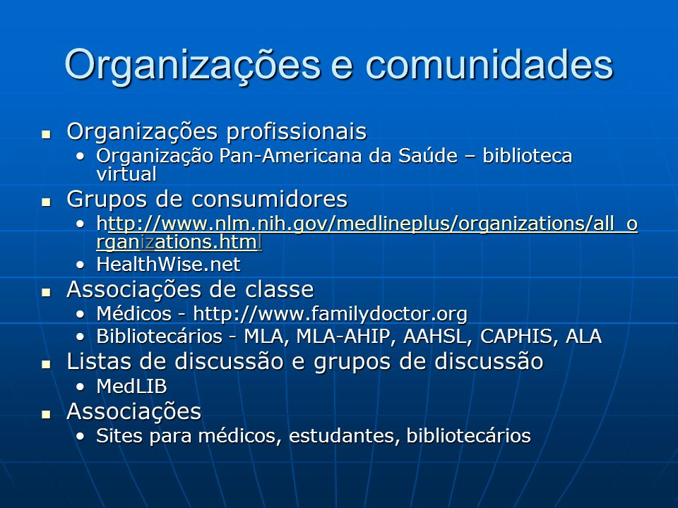 Organizações e comunidades Organizações profissionais Organizações profissionais Organização Pan-Americana da Saúde – biblioteca virtualOrganização Pa