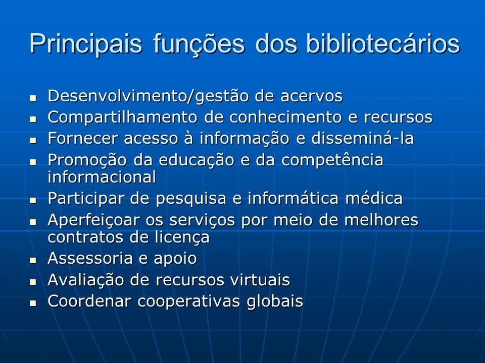 Principais funções dos bibliotecários Desenvolvimento/gestão de acervos Desenvolvimento/gestão de acervos Compartilhamento de conhecimento e recursos