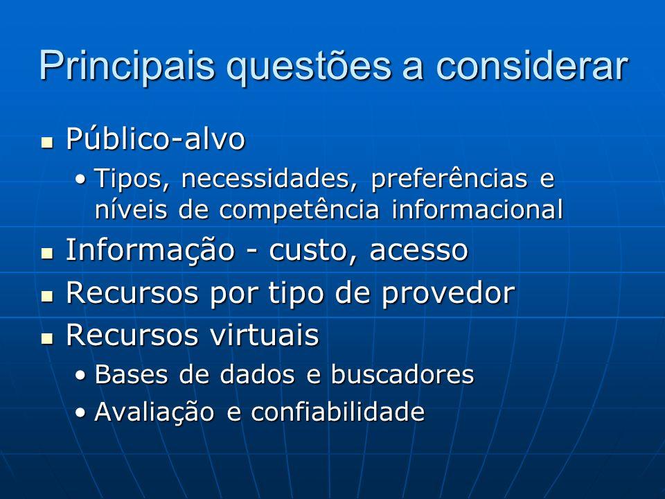 Principais questões a considerar Público-alvo Público-alvo Tipos, necessidades, preferências e níveis de competência informacionalTipos, necessidades,