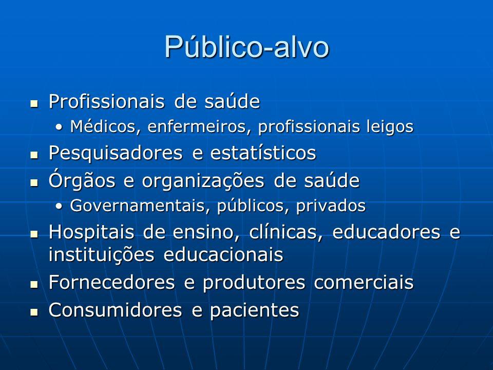 Público-alvo Profissionais de saúde Profissionais de saúde Médicos, enfermeiros, profissionais leigosMédicos, enfermeiros, profissionais leigos Pesqui