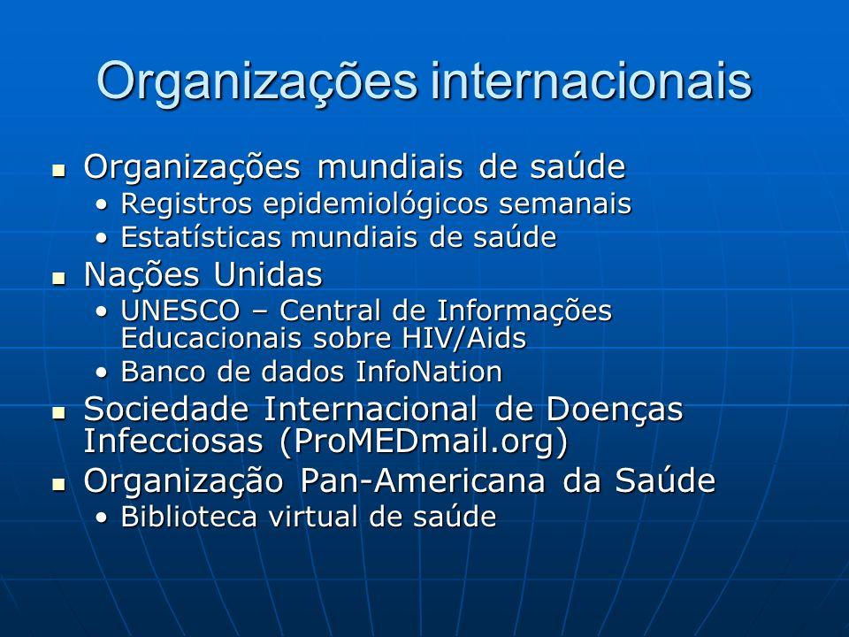 Organizações internacionais Organizações mundiais de saúde Organizações mundiais de saúde Registros epidemiológicos semanaisRegistros epidemiológicos
