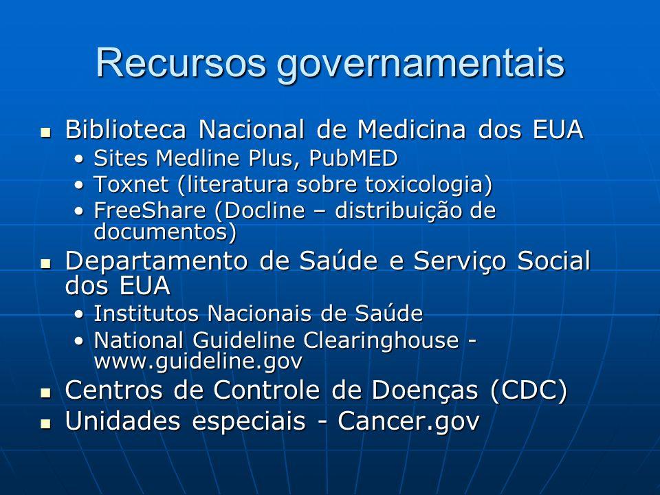 Recursos governamentais Biblioteca Nacional de Medicina dos EUA Biblioteca Nacional de Medicina dos EUA Sites Medline Plus, PubMEDSites Medline Plus,