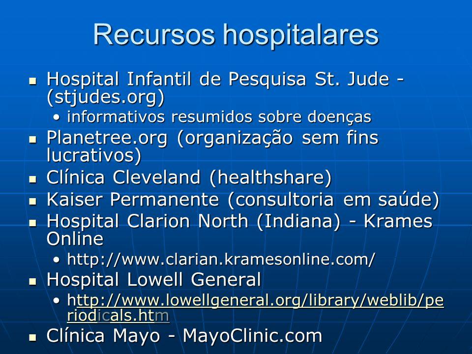 Recursos comerciais: fornecedores Organizações / produtores Organizações / produtores WebMD & WebMD-eMedicine.comWebMD & WebMD-eMedicine.com Produtos de enfermagem Elsevier-MosbyProdutos de enfermagem Elsevier-Mosby MD Consult com First ConsultMD Consult com First Consult Vídeos Vídeos Site New Media MedicineSite New Media Medicine http://www.newmediamedicine.com/videos/ http://www.newmediamedicine.com/videos/ Instrucionais e educacionaisInstrucionais e educacionais YouTube, Google VideoYouTube, Google Video Grupos especiais - adolescentes (Rosen Publishing) Grupos especiais - adolescentes (Rosen Publishing) http://www.teenhealthandwellness.com/http://www.teenhealthandwellness.com/