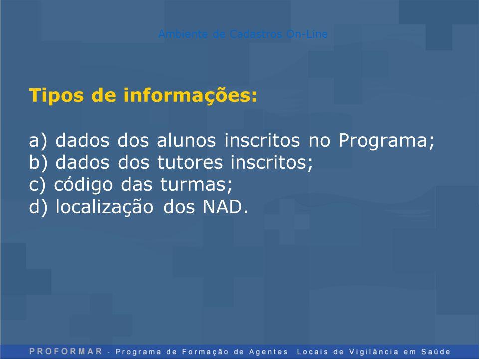 Tipos de informações: a) dados dos alunos inscritos no Programa; b) dados dos tutores inscritos; c) código das turmas; d) localização dos NAD.