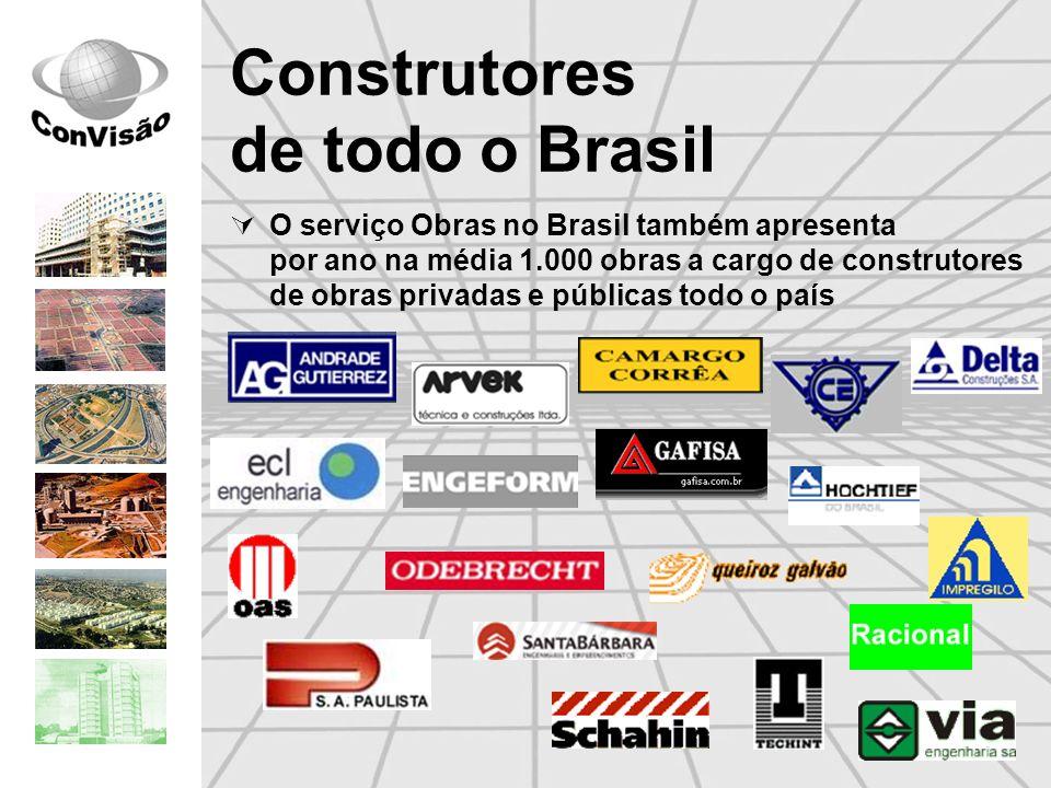 Construtores de todo o Brasil O serviço Obras no Brasil também apresenta por ano na média 1.000 obras a cargo de construtores de obras privadas e públ