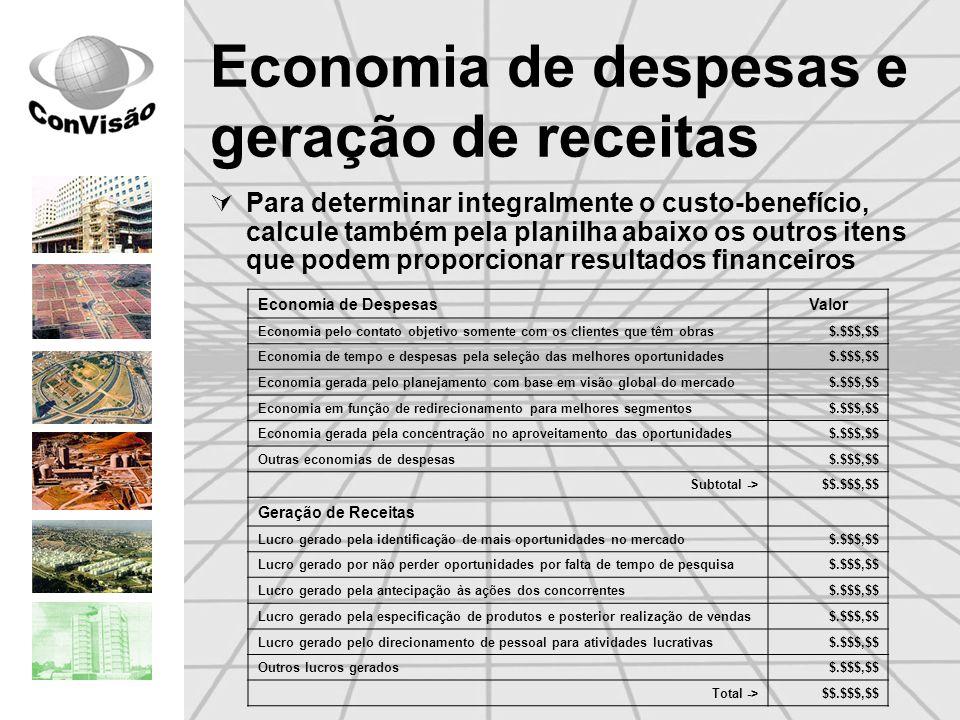 Economia de despesas e geração de receitas Para determinar integralmente o custo-benefício, calcule também pela planilha abaixo os outros itens que po