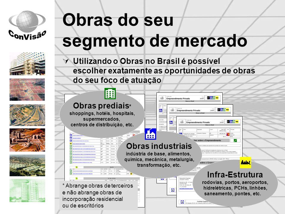 Obras do seu segmento de mercado Utilizando o Obras no Brasil é possível escolher exatamente as oportunidades de obras do seu foco de atuação Obras pr