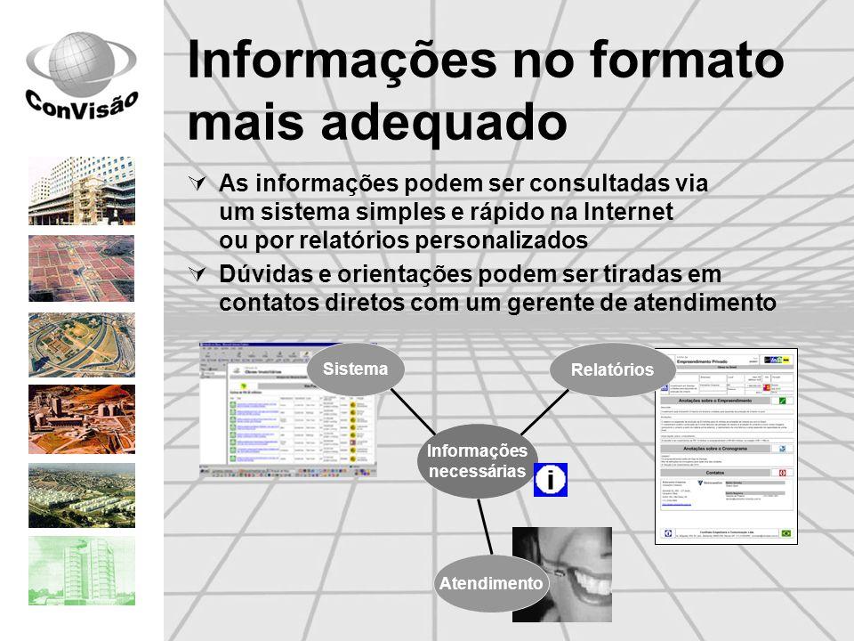 Informações no formato mais adequado As informações podem ser consultadas via um sistema simples e rápido na Internet ou por relatórios personalizados