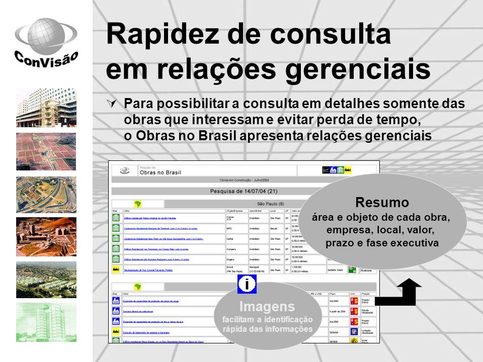 Rapidez de consulta em relações gerenciais Para possibilitar a consulta em detalhes somente das obras que interessam e evitar perda de tempo, o Obras