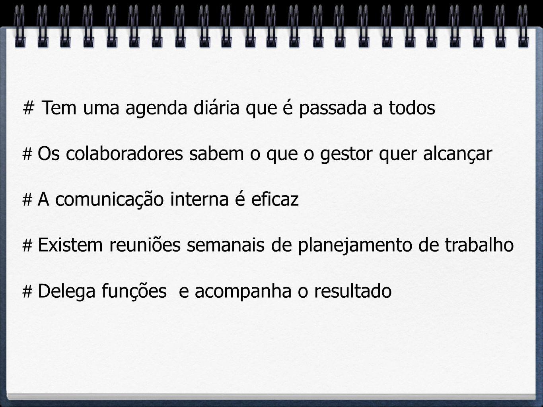 # Tem uma agenda diária que é passada a todos # Os colaboradores sabem o que o gestor quer alcançar # A comunicação interna é eficaz # Existem reuniõe