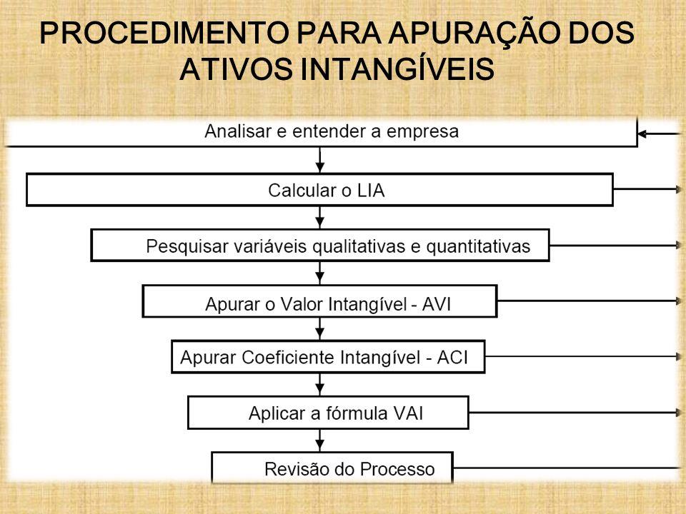 PROCEDIMENTO PARA APURAÇÃO DOS ATIVOS INTANGÍVEIS